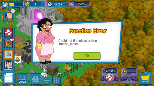 button close Error Message