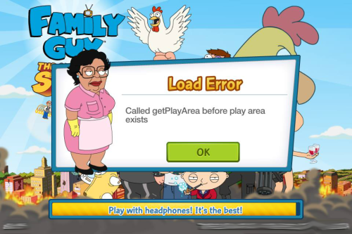 get play area error message glitch