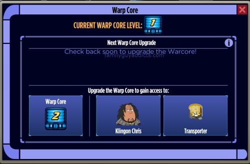 Warp Core Delay Message