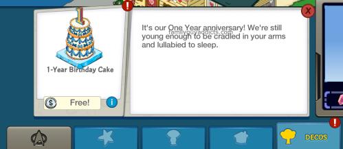 Free Birthday Cake Inventory