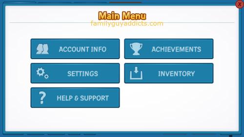 Main Menu & Account Screen