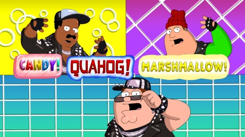 FAMILY GUY: Peter, Cleveland and Joe star in a music video in the all-new ÒCandy, Quahog MarshmallowÓ episode of FAMILY GUY airing Sunday, Jan. 3 (9:00-9:30 PM ET/PT) on FOX. FAMILY GUY ª and © 2016 TCFFC ALL RIGHTS RESERVED.