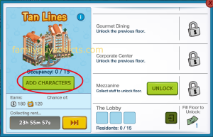Tan Lines Information Screen Add Characters