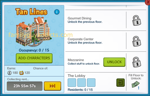 Tan Lines Information Screen