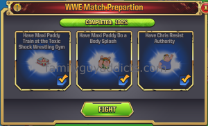 WWE Main Event Ring First Match Task Requirements FIGHT
