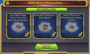 WWE Main Event Ring Second Match Task Requirements