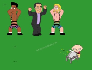 Stewie was not impressed by the YMCA performance