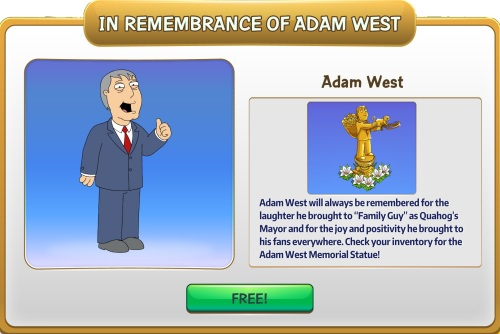 how did adam west die in family guy