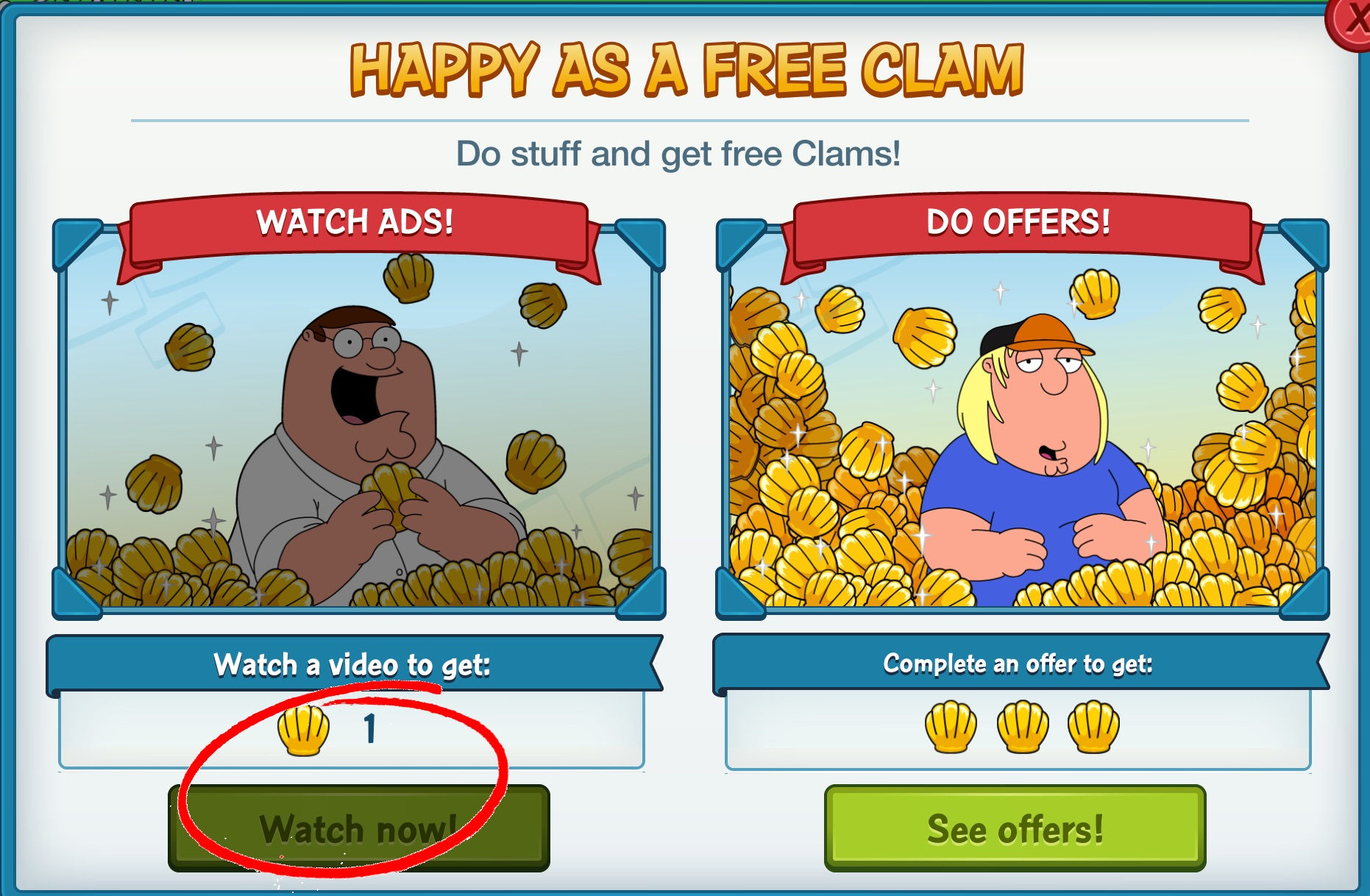 family guy quest for stuff free clams no survey